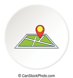 Map and GPS sign icon, cartoon style