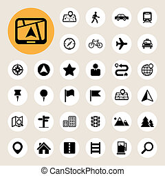Map and Location Icons set .Illustration eps10