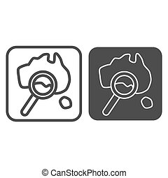Map and magnifier line and solid icon, Travel concept, World map with magnifying glass sign on white background, Map search icon in outline style for mobile concept and web design. Vector graphics.