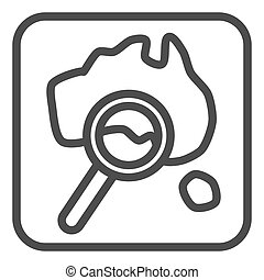 Map and magnifier line icon, Travel concept, World map with magnifying glass sign on white background, Map search icon in outline style for mobile concept and web design. Vector graphics.