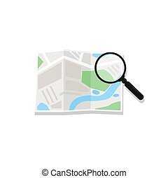 Map and magnifying glass. Vector. Magnifying glass consulting road map. Concept travel route planning. Search over navigation map. Navigational or location software.
