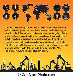 Map and oil rig - Text field for website over White World ...