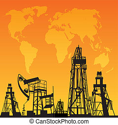 Map and oil rig - White World Map, Oil rig and oil pump.