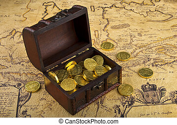 Map and treasure chest - Very old map with treasure chest ...