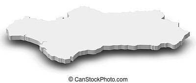 Map - Andalusia (Spain) - 3D-Illustration - Map of...