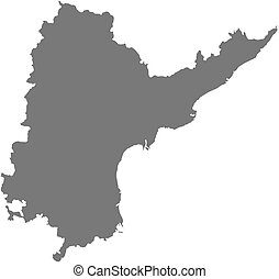 Map of Andhra Pradesh, a province of India.