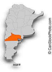 Map - Argentina, Rio Negro - 3D-Illustration - Map of...