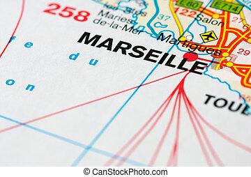 Map around Marseille - Close up of a map near Marseille, ...