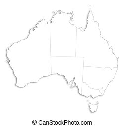Map - Australia - Map of Australia as a white area over its...