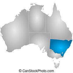 Map of Australia with the provinces, filled with a radial gradient, New South Wales is highlighted.
