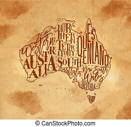 Map Australia vintage craft