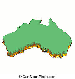 Australia on fire. Map of australia all burnt and on fire.