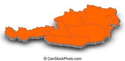 Map - Austria - 3D-Illustration