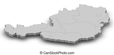 Map - Austria - 3D-Illustration