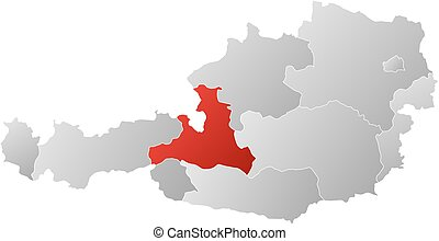 Map Austria Salzburg Map Of Austria With The Provinces Filled