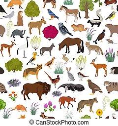 map., aves, animales, biome, conjunto, pattern., estepa, ...