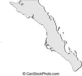Map Of Baja California Sur Mexico Vector Map Of State Baja