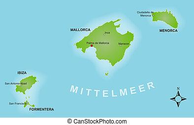 Map - Balearics - A stylized map of the Balearics showing...
