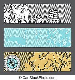 map., bandiere, vecchio, nautico