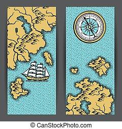 map., bannières, vieux, nautique