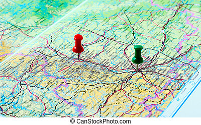 Map - Baseline and endpoint route indicated on the map.