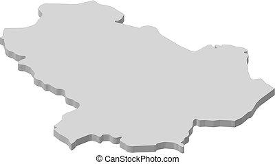 Map - Basilicata (Italy) - 3D-Illustration - Map of...
