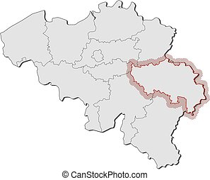 Map - Belgium, Liege - Map of Belgium with the provinces, ...