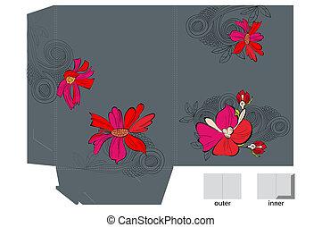 map, bloemen, mal