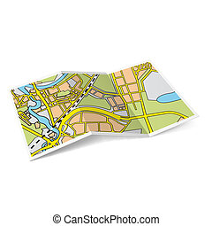 Map booklet - Design of city map booklet on white background