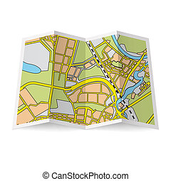 Map booklet - Illustration of folded booklet on white...