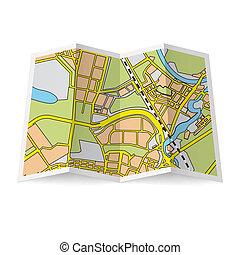 Map booklet - Illustration of folded booklet on white...