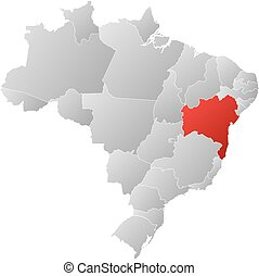 Map - Brazil, Bahia - Map of Brazil with the provinces, ...