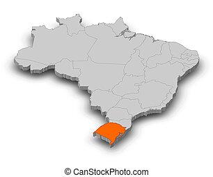 Map - Brazil, Rio Grande do Sul - 3D-Illustration - Map of...