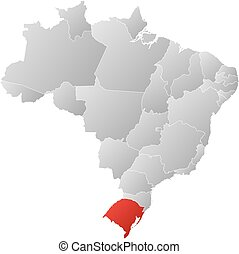 Map - Brazil, Rio Grande do Sul - Map of Brazil with the...
