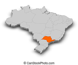 Brazil highlighted world map stock photo images 335 brazil map brazil sao paulo 3d illustration map of brazil as gumiabroncs Images