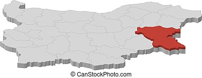 Map - Bulgaria, Burgas - 3D-Illustration