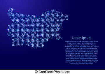 Map Bulgaria from printed board, chip and radio component with blue star space on the contour for banner, poster, greeting card, of vector illustration.