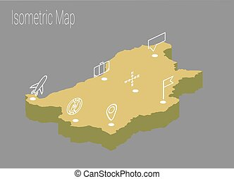 Map Bulgaria isometric concept.