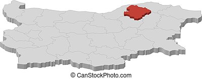 Map - Bulgaria, Razgrad - 3D-Illustration