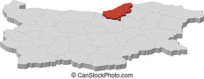Map - Bulgaria, Ruse - 3D-Illustration