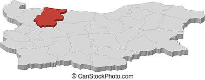 Map - Bulgaria, Vratsa - 3D-Illustration