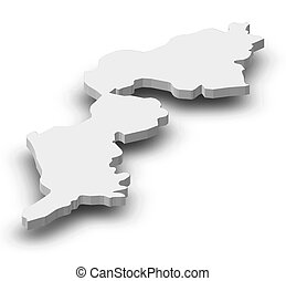 Map - Burgenland (Austria) - 3D-Illustration