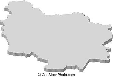 Map - Burgundy (France) - 3D-Illustration - Map of Burgundy,...