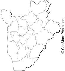 Map - Burundi - Map of Burundi, contous as a black line.