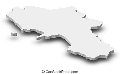 Map of Campania, a province of Italy, as a gray piece with shadow.