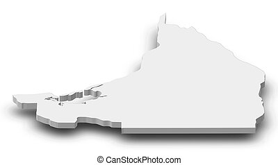 Map of Campeche, a province of Mexico, as a gray piece with shadow.