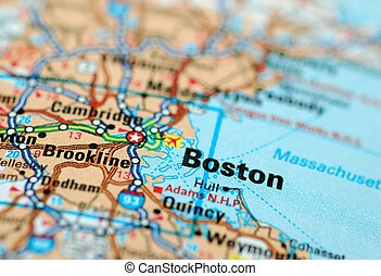 Map centered on the city of Boston. Shallow depth of field