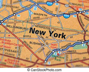 New York - Map centered on the city of New York. Shallow...