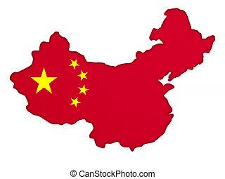 Map china on white background. Isolated 3D illustration