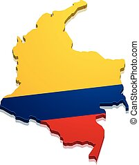 Map Colombia - detailed illustration of a map of Colombia...